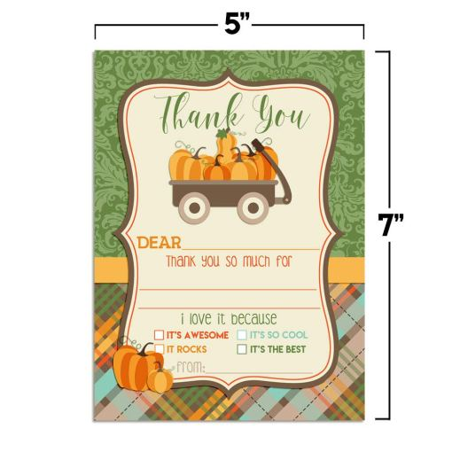 Little Wagon Full of Pumpkins Thank You Cards