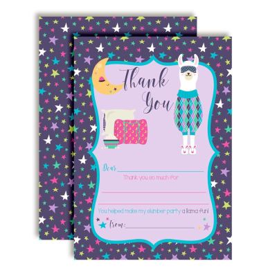 Llama Slumber Party Thank You Cards