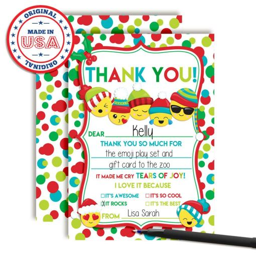 Christmas Emoji Thank You Cards