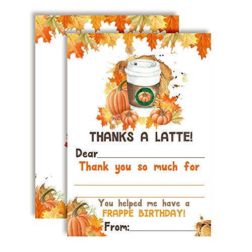Pumpkin Spice Latte Birthday Thank You Cards