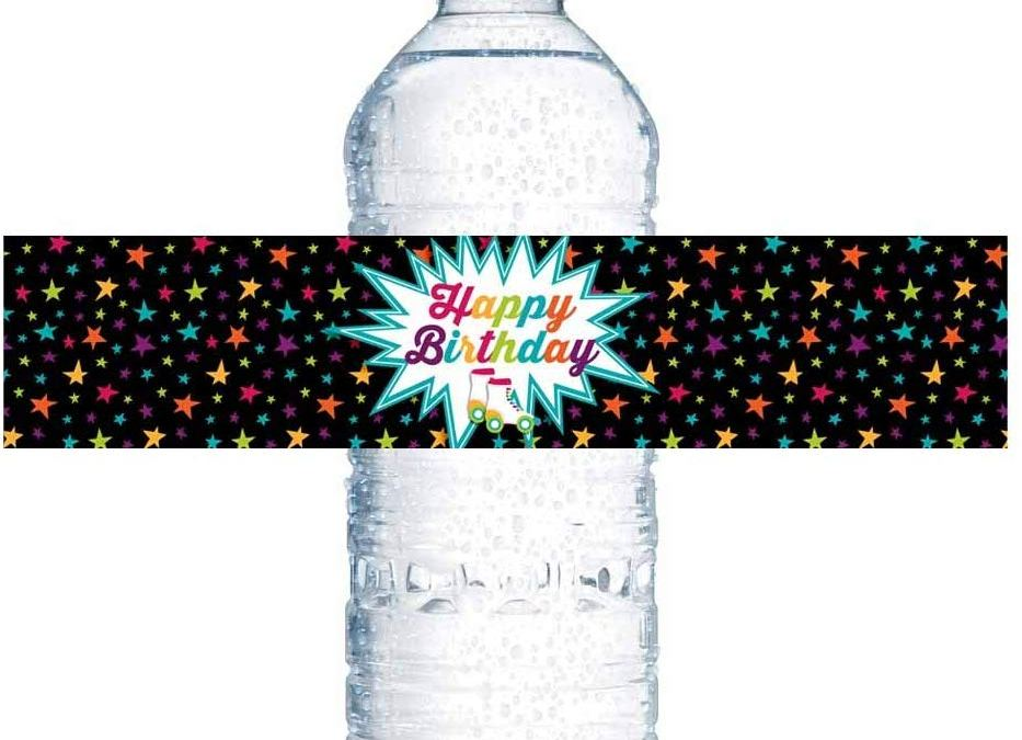Roller Skating Birthday Party Water Bottle Labels