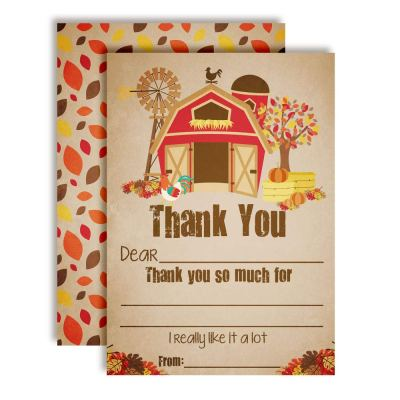 Old Fashioned Fall Barn Thank You Cards