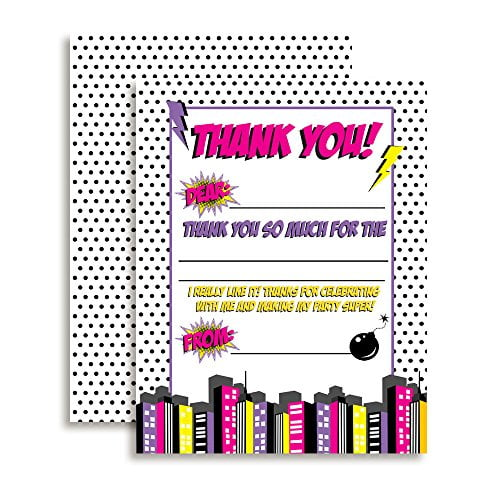 Superhero Thank You Cards (Girl)