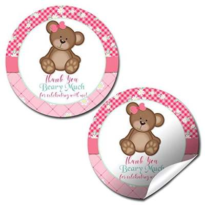 Teddy Bear Party Stickers (Girl)