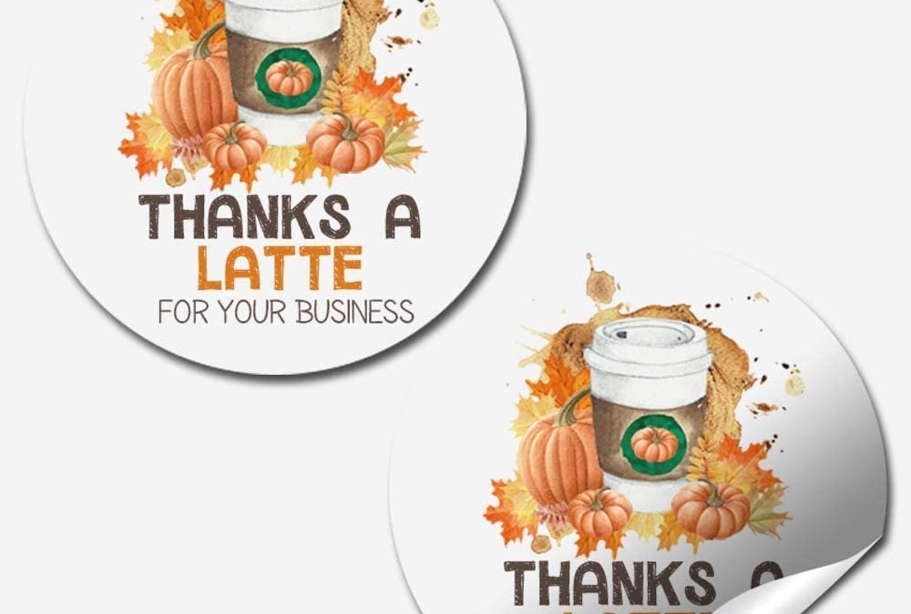 "Thanks A Latte Fall & Autumn Pumpkin Spice Thank You Customer Appreciation Sticker Labels for Small Businesses, 60 1.5"" Circle Stickers by AmandaCreation, for Envelopes, Postcards, Direct Mail, More!"