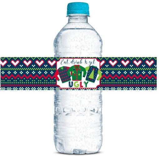ugly sweater water bottle wrappers