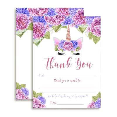 Unicorn Face Floral Thank You Cards