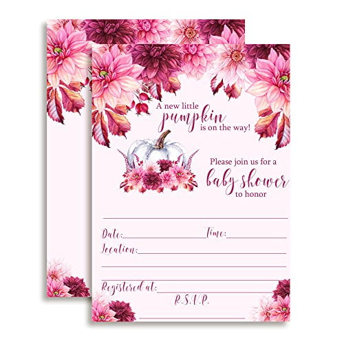 Pink Dahlias With Pumpkins Baby Shower Invitations