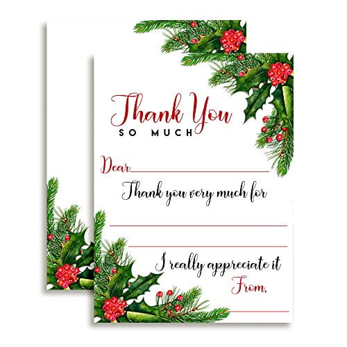 Holly and Pine Thank You Cards