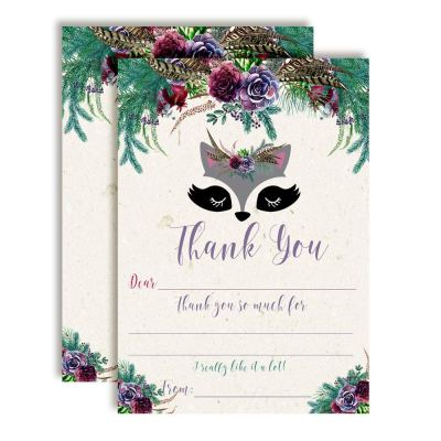 Raccoon Face Floral Thank You Cards