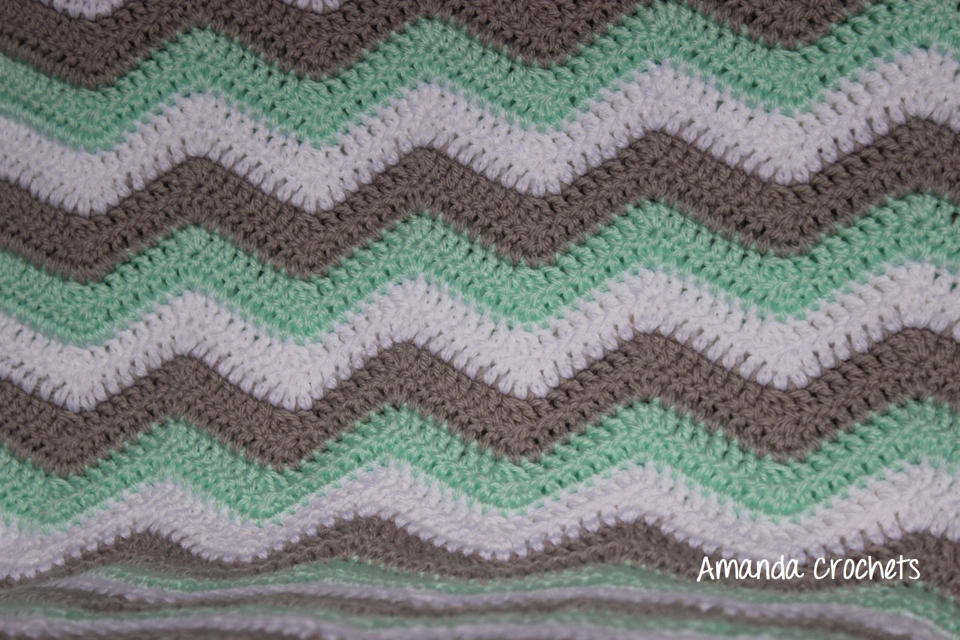 Mint, White, Gray Chevron Baby Blanket - Amanda Crochets