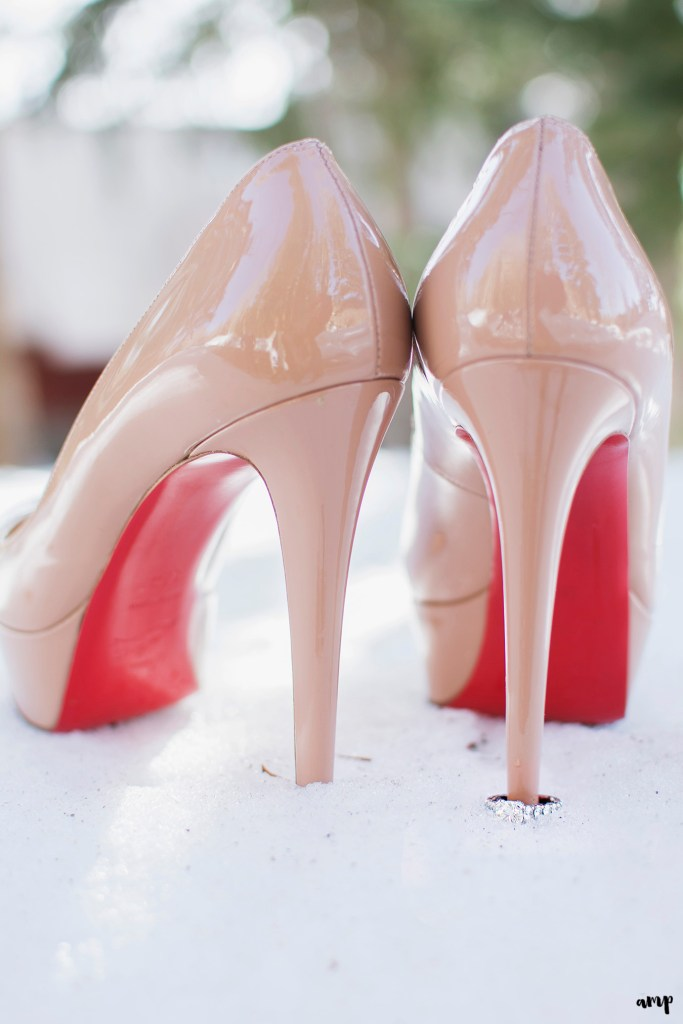 Engagement Ring with Bride's Louboutin shoes
