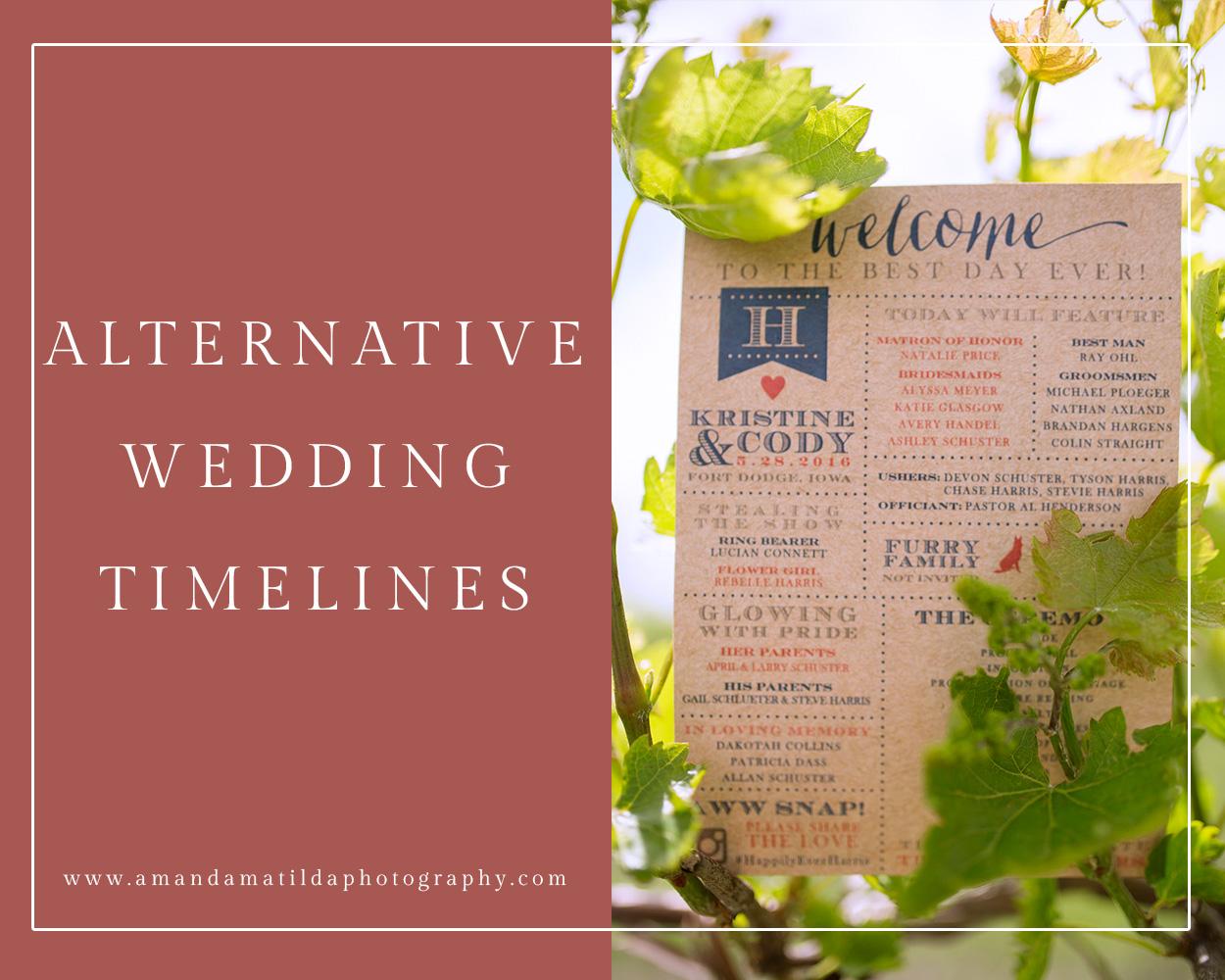 alternative wedding day timelines amanda matilda photography