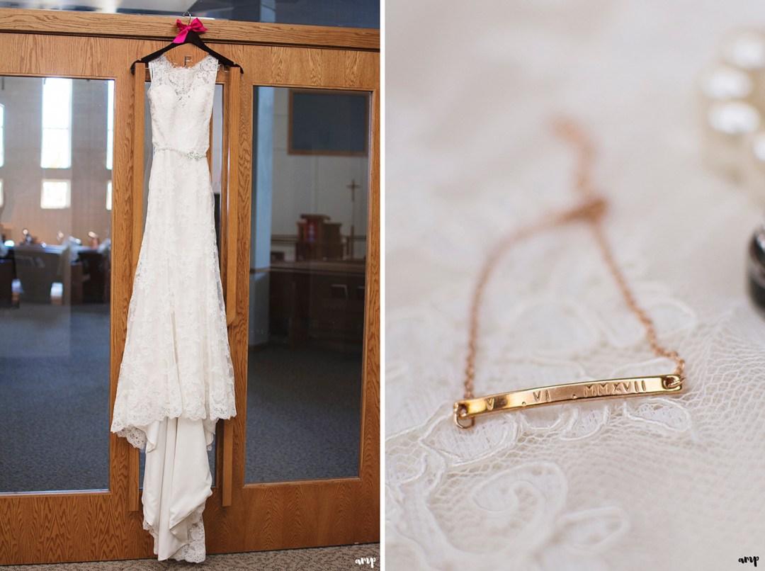 Wedding dress and bride's bracelet
