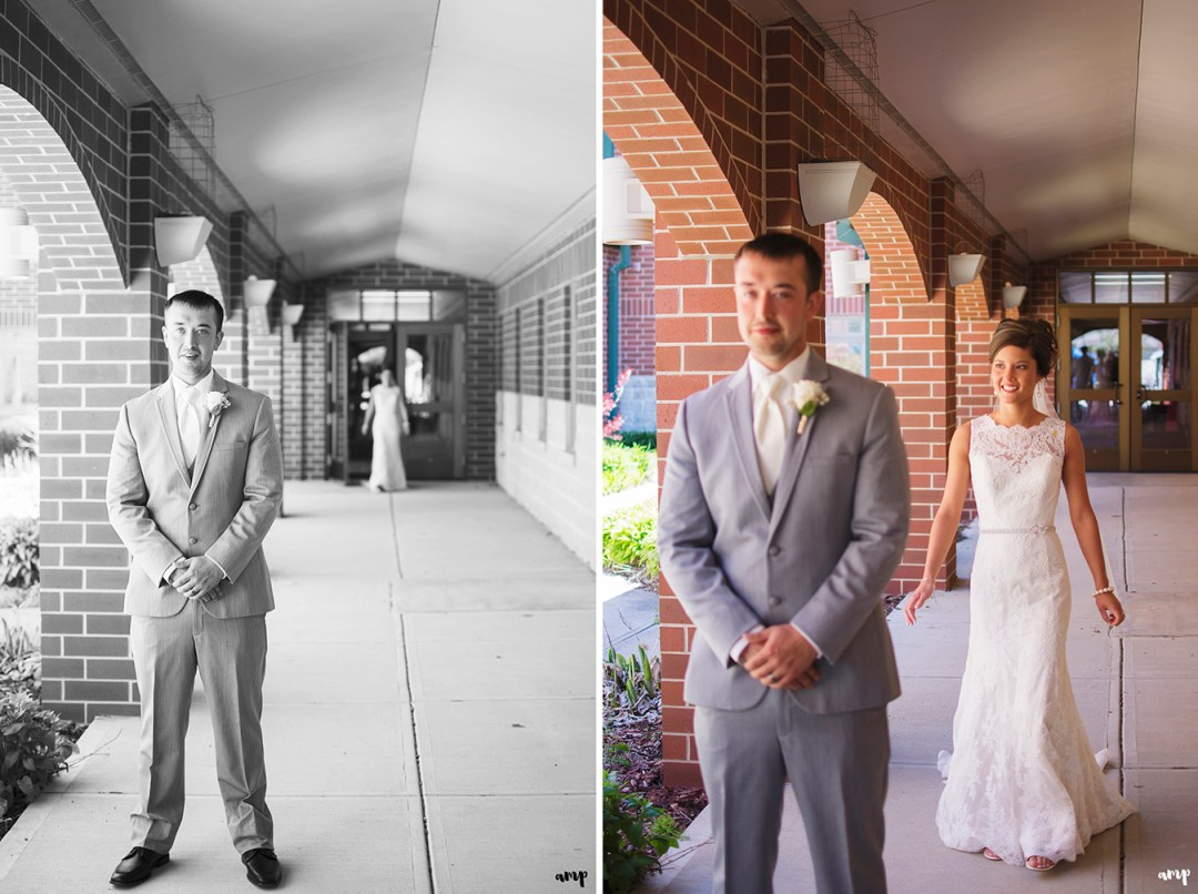 Bride & groom's first look in church courtyard