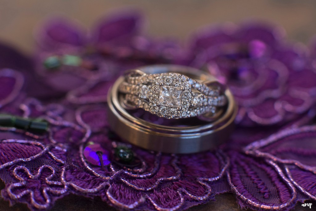 Wedding rings for an eggplant purple wedding