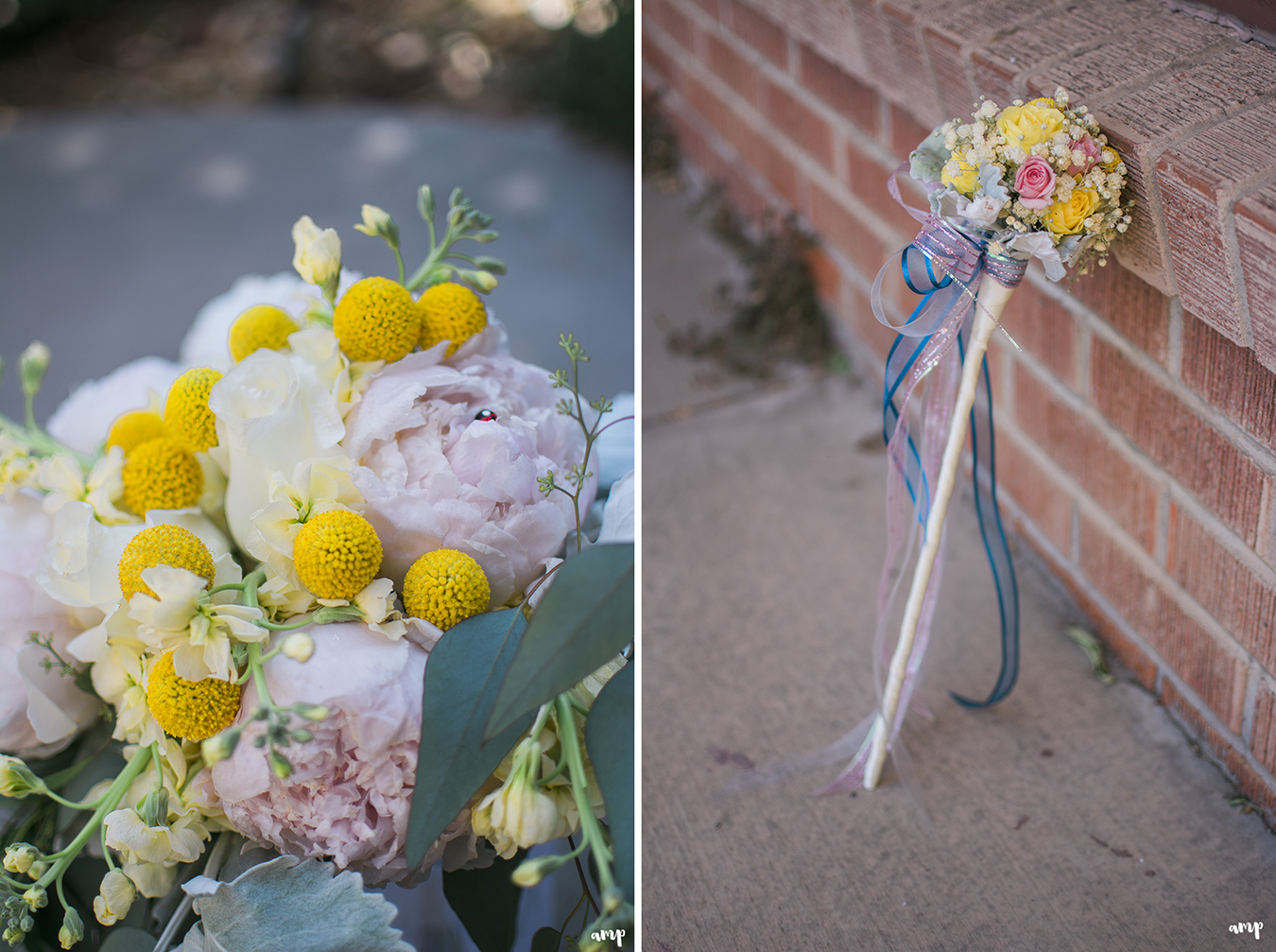 Bridal bouquet and Flower girl wand