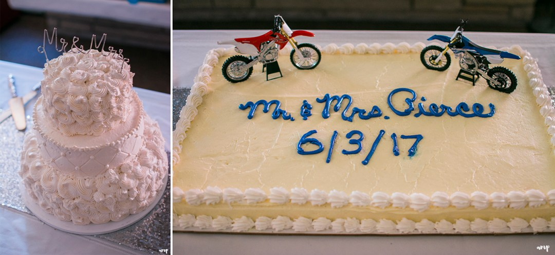 Wedding cake with dirt bike toppers