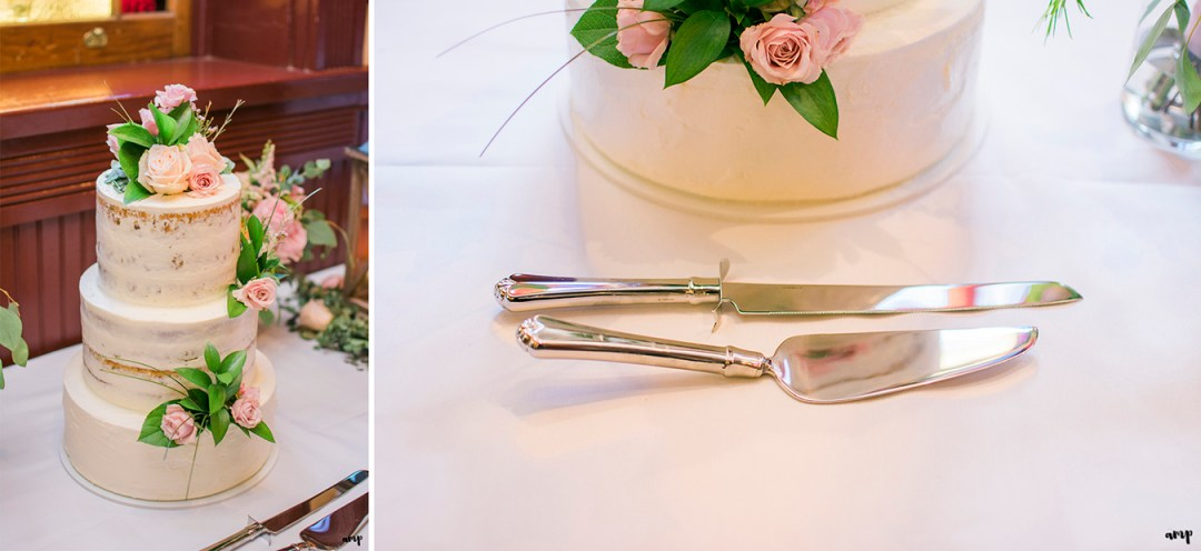 The wedding cake and cutlery