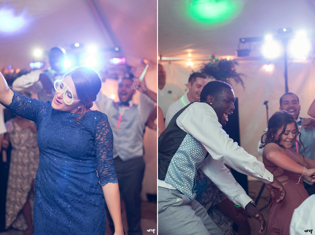 Guests dancing on the dance floor at the Crested Butte Mountain Wedding Garden