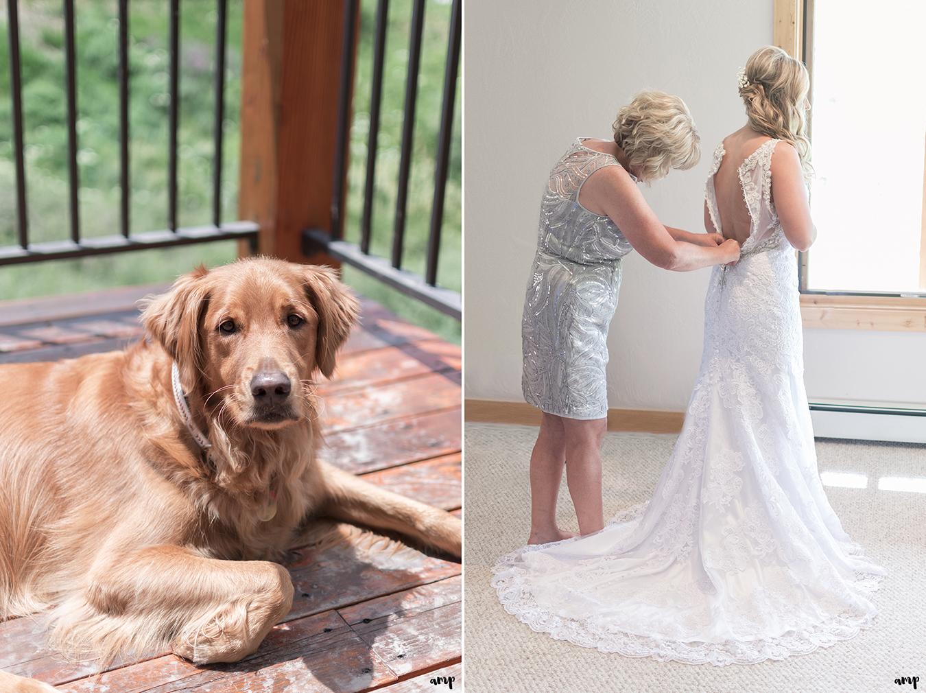 Mom doing up bride's dress
