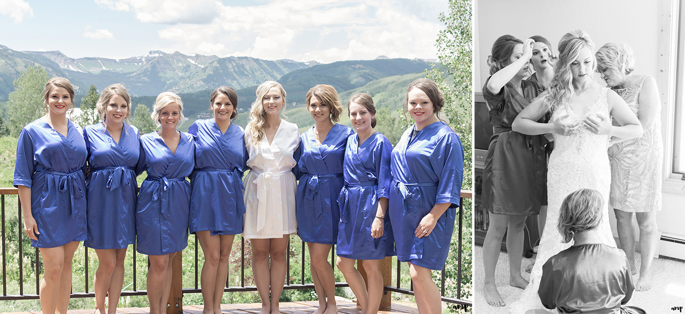 Bridesmaids in blue robes helping bride get ready