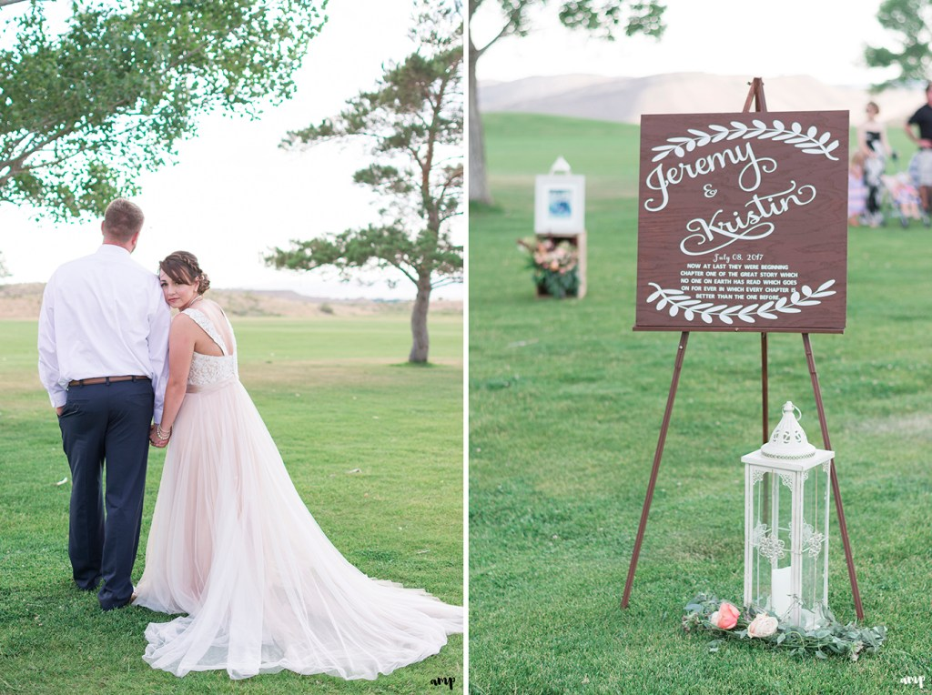 Custom wooden calligraphy sign at entrance to ceremony