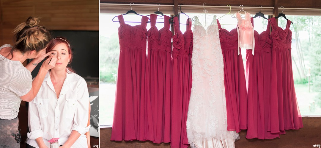 Bride getting ready and dresses hung in window