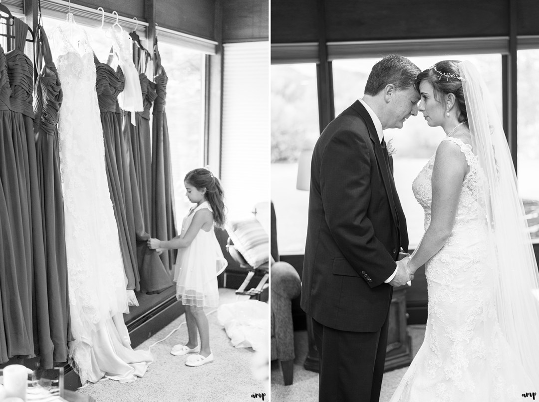 Bride and father praying