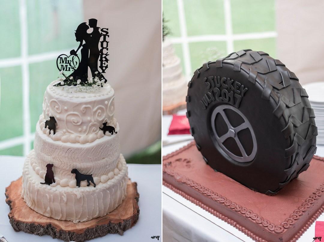 Wedding cake and groom's cake shaped like a tire