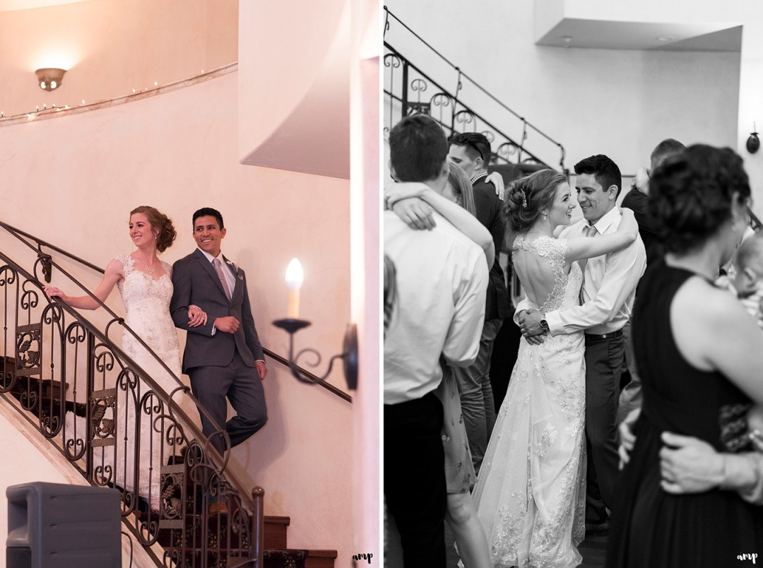 Bride and groom's grand entrance down the staircase