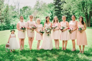 Bridesmaids dresses in blush with different styles