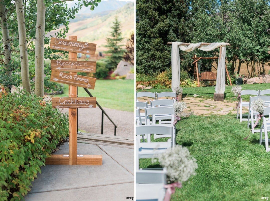 Welcome signs and ceremony space at the Mountain Wedding Garden