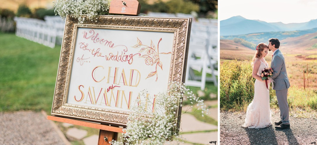 Welcome sign at the Mountain Wedding Garden | Fall Wedding in Crested Butte at the Mountain Wedding Garden | amanda.matilda.photography