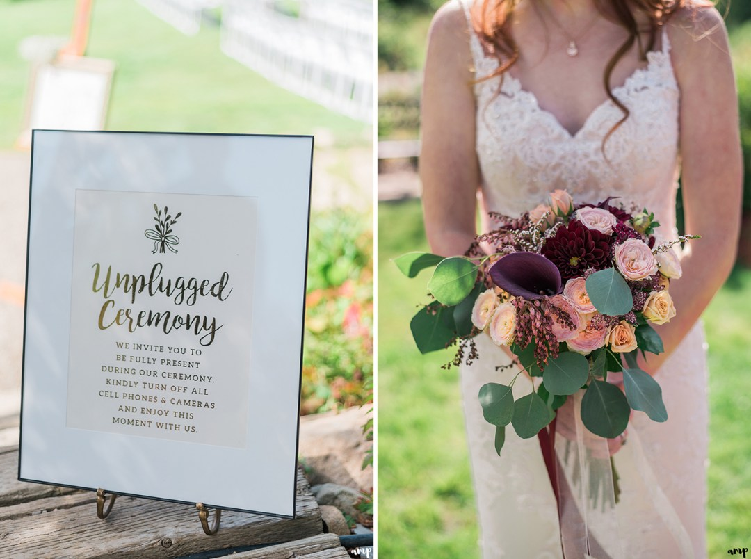 Unplugged Ceremony sign idea & bride's fall bouquet