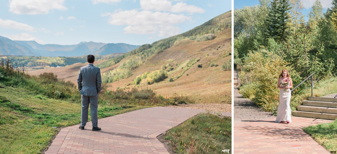 Bride and groom's first look at the Crested Butte Mountain Wedding Garden