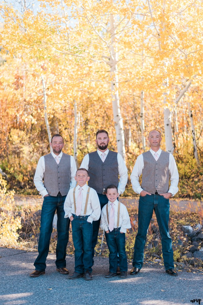 Groom and groomsmen portraits in the yellow aspen trees