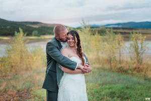 Bride and groom portrait at Harvey Gap at sunset