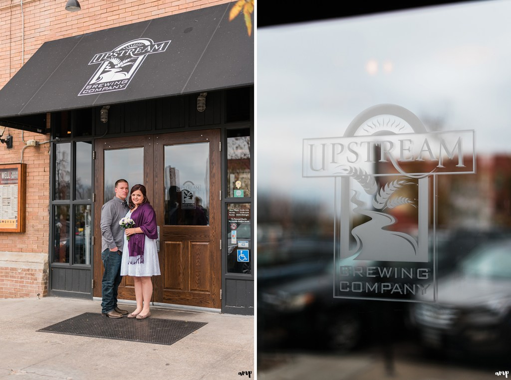 Couple outside Upstream Brewery in Old Market Omaha