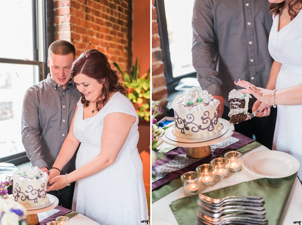Couple cuts the cake at Upstream Brewery Wedding in Omaha