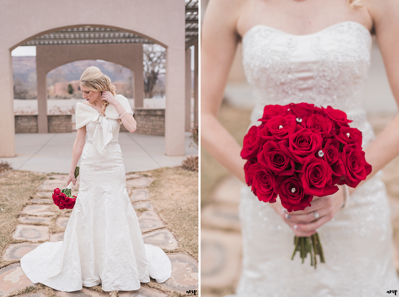 Bride poses with red roses for her Winter Wedding at Two Rivers Winery in Grand Junction | amanda.matilda.photography