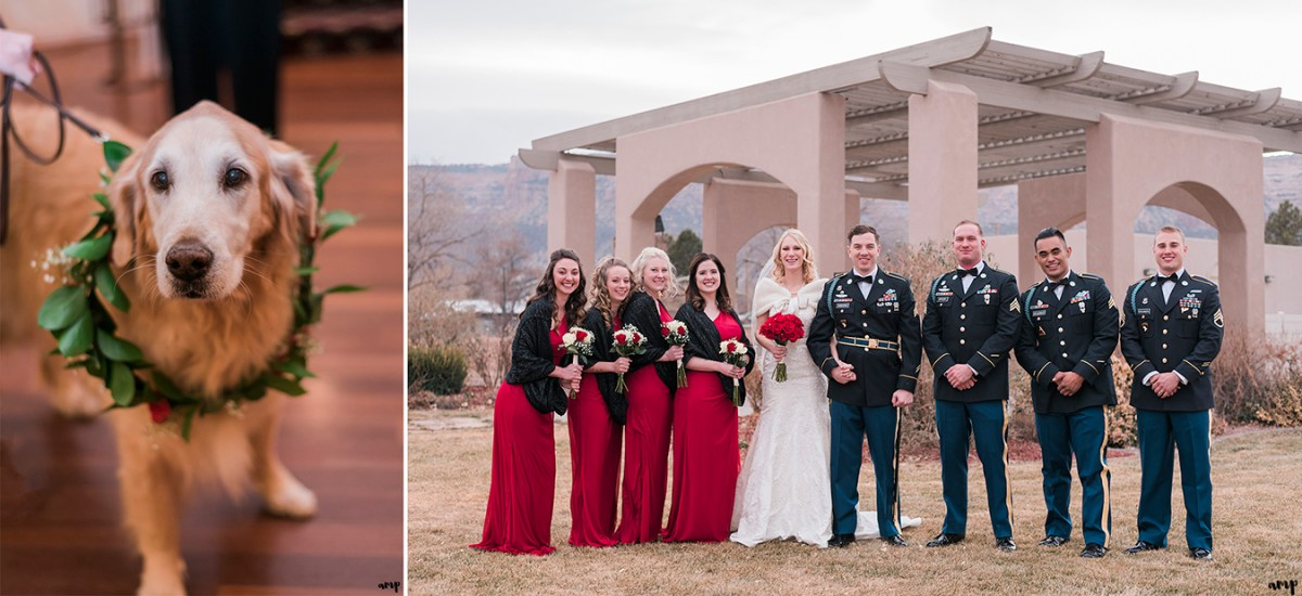 Bridal Party posing under the Two Rivers Winery pergola and the golden retriever ring bearer