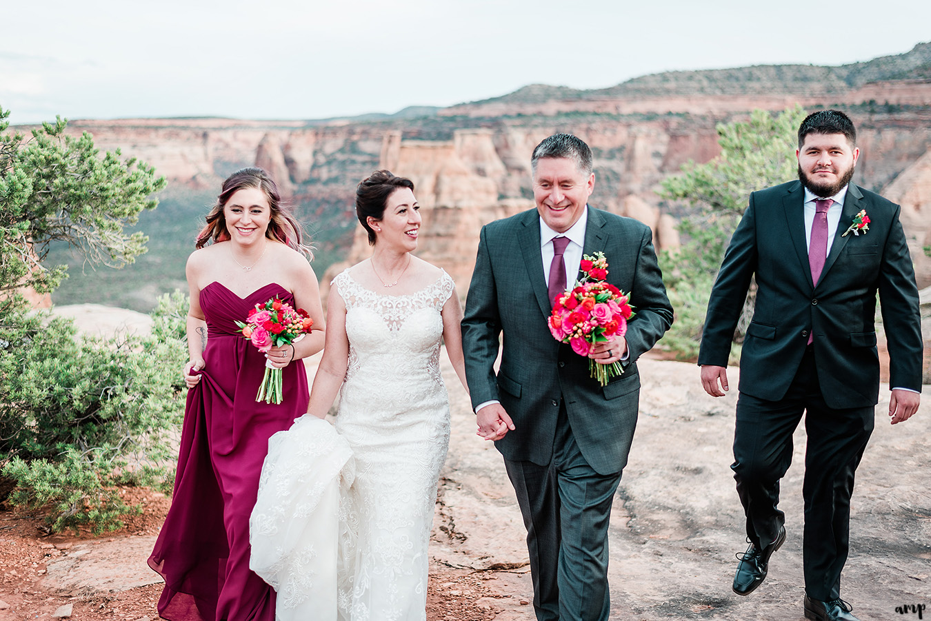 Wedding party walking through the Colorado National Monument in Grand Junction