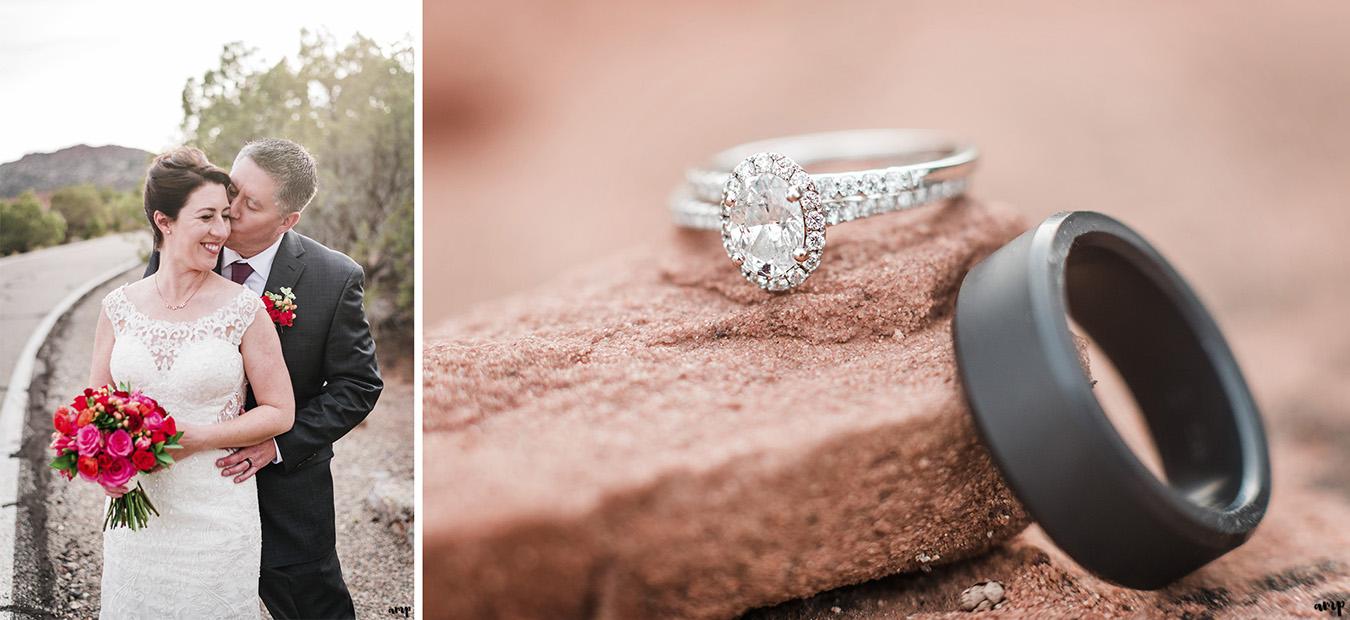 Wedding rings in desert sands