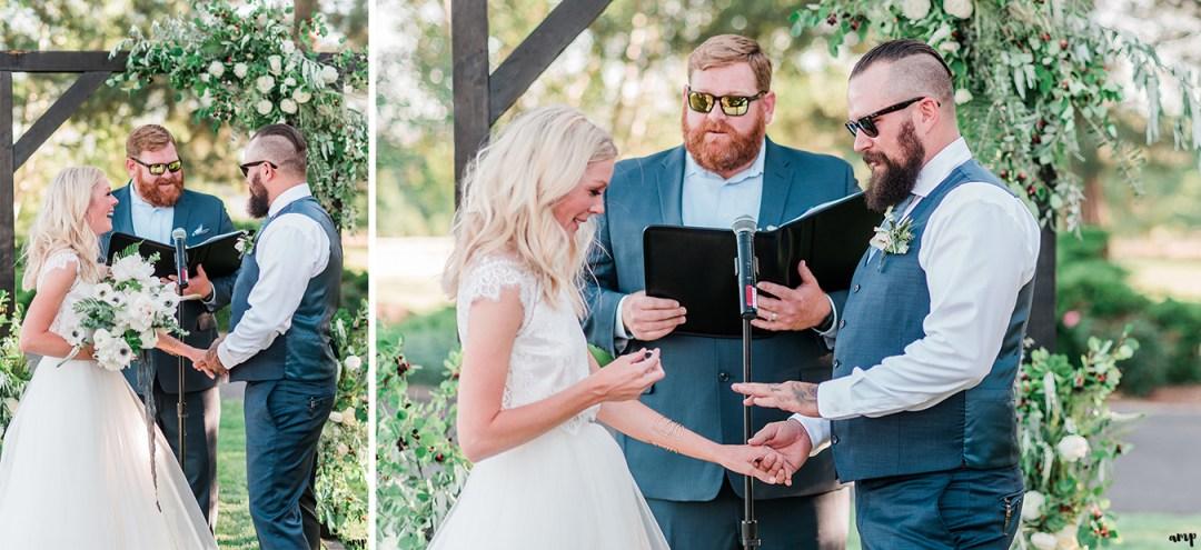 Beth and Dustin exchange rings | Grand Junction Backyard Wedding | amanda.matilda.photography