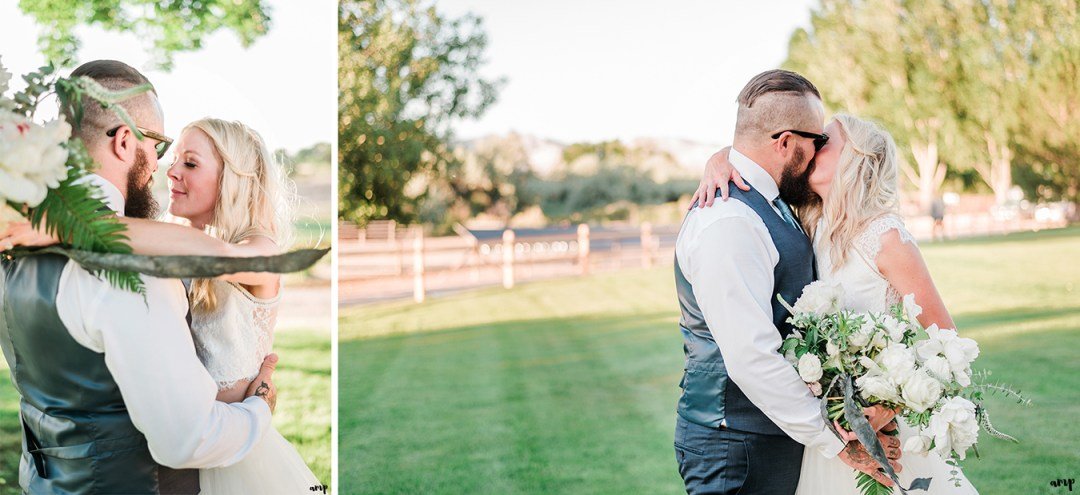Beth and Dustin embracing under a tree | Grand Junction Backyard Wedding | amanda.matilda.photography