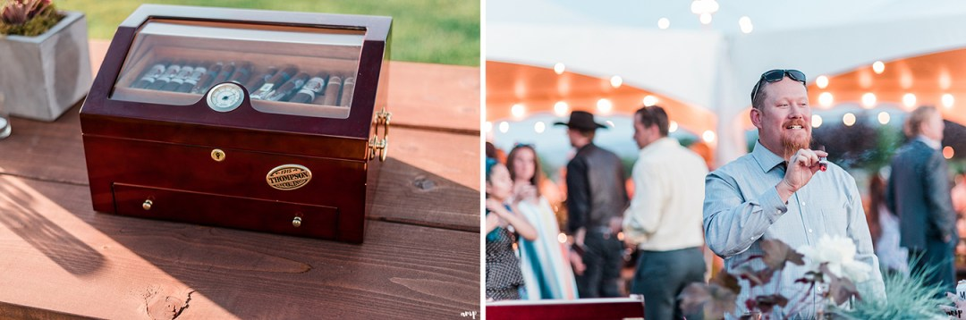 Cigar table | Grand Junction Backyard Wedding | amanda.matilda.photography