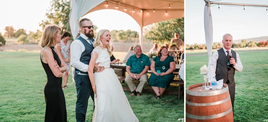 Father of the Bride's toast | Grand Junction Backyard Wedding | amanda.matilda.photography