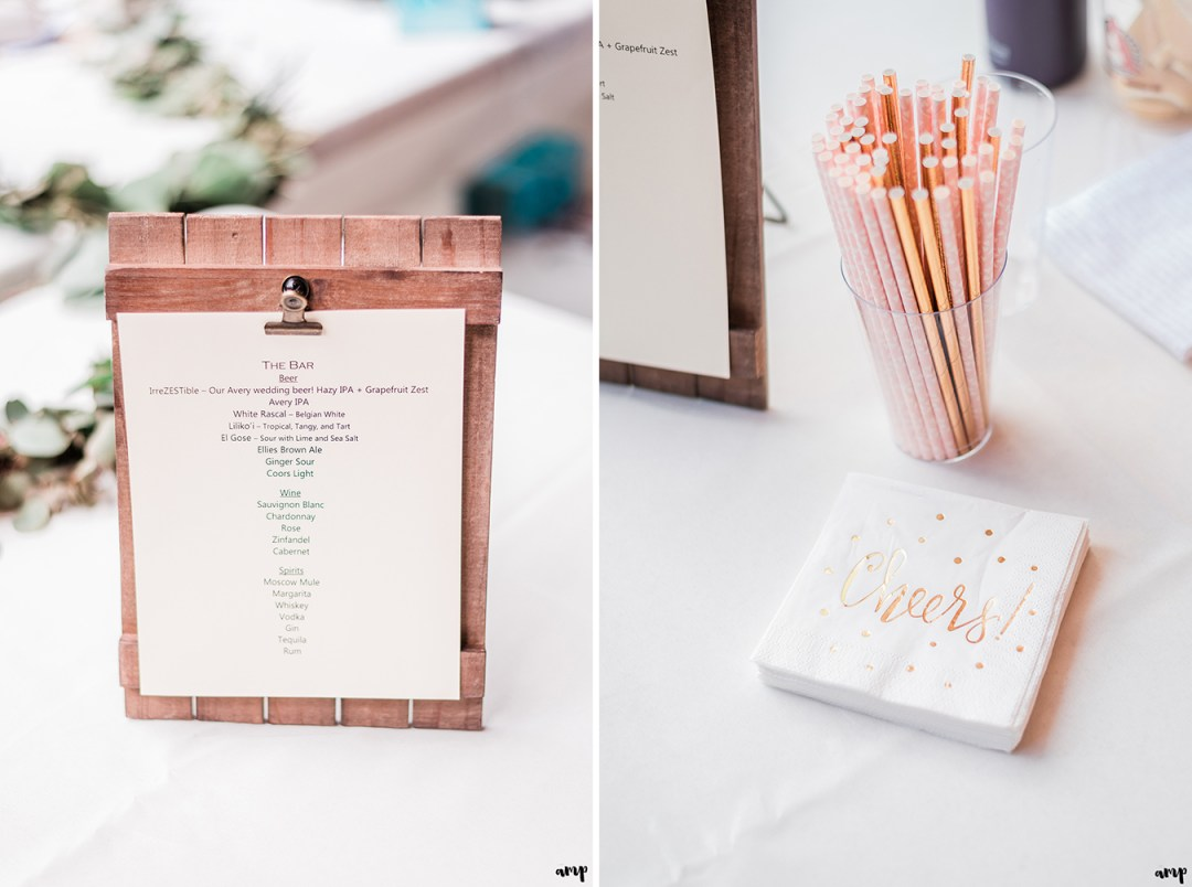 Bar menu and rose gold straws