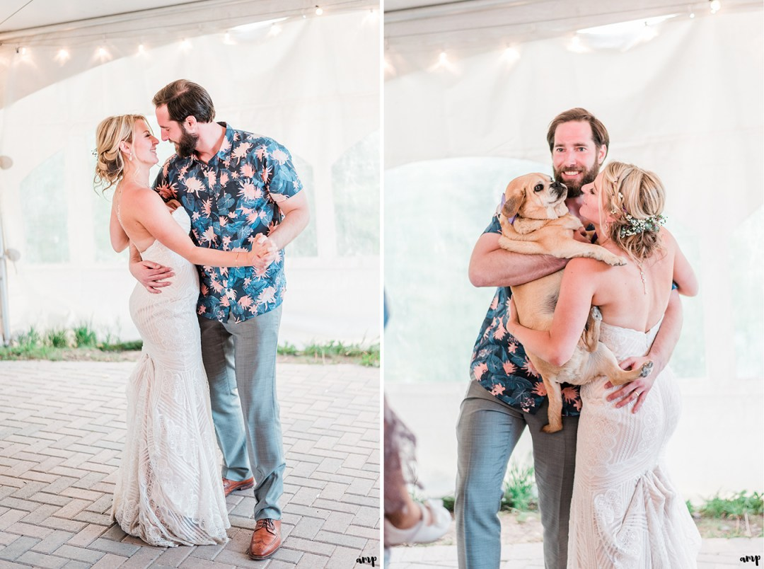 Dan and Courtney's first dance shared with their dog Mr. Bentley in their arms